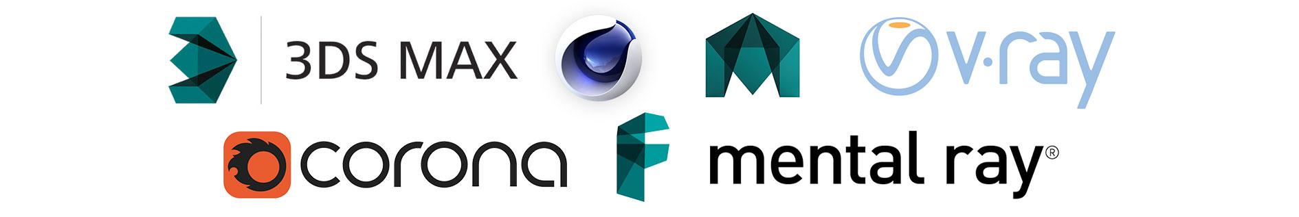 3DS Max, Cinema 4D, Maya, V-Ray, Corona, FBX, Mental Ray